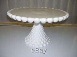 Vintage Duncan & Miller Milk Glass HOBNAIL Cake Plate on Pedestal Stand