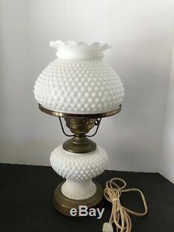 Vintage Electric Hurricane Lamp Hobnail Fenton White Milk Glass 15 MID Century