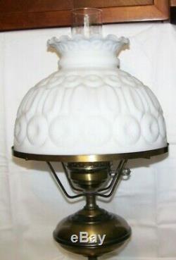 Vintage Electric Lamp Metal / Moon & Stars White Milk Glass Shade & Lamp Globe