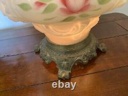 Vintage Embossed Milk Glass 3 Way Gone with the Wind Lamp