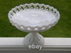 Vintage FENTON MILK GLASS Backward C Lacy PEDESTAL CAKE STAND Plate Compote Dish