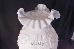 Vintage FENTON MILK GLASS PUFFY POPPY BANQUET Lamp 22