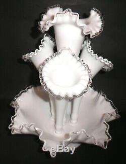 Vintage FENTON Milk glass Silver Crest 4 Horn Epergne Centerpiece