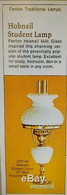 Vintage FENTON White Milk Glass Hobnail STUDENT Lamp