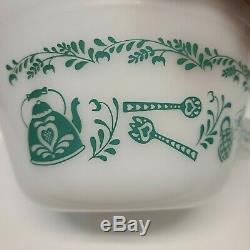 Vintage Federal Glass Heat Proof 5pc Nesting Mixing Bowl Set