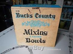 Vintage Federal Milk Glass Blue Bucks County Mixing Baking Bowls MINT BOXED SET