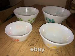 Vintage Federal Set 4 Atomic Swirl Dots Mixing Stacking Bowls Nesting Retro MCM