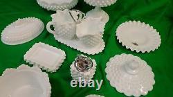 Vintage Fenton 12 Piece White Milk Glass Set Lighter Creamer Sugar Covered Bowl
