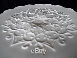 Vintage Fenton 13 Scalloped Edge Cake Stand in Rare Spanish Lace Milk Glass