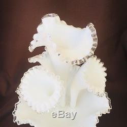 Vintage Fenton 5 Piece Epergne White Silver Crest Milk Glass Vase Centerpiece