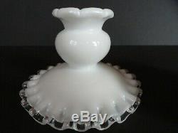 Vintage Fenton 7 Piece Epergne Set White Silver Crest Milk Glass Candleholders