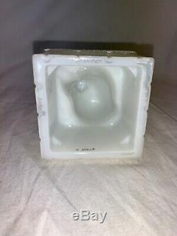 Vintage Fenton Art Glass Santa Claus Chimney Christmas Luster Milk Glass Signed