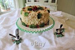 Vintage Fenton Bright Emerald Green Crest Cake Plate Stand White Milk Glass Ex