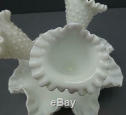 Vintage Fenton Epergne Milk Glass Hobnail Bowl With Three Vase Inserts 1960's