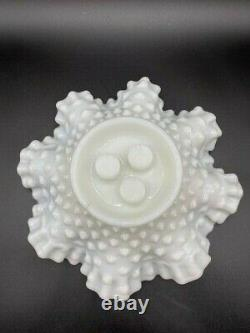 Vintage Fenton Epergne Milk Glass Hobnail Ruffled Bowl With Three Vase Inserts