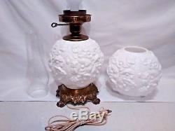 Vintage Fenton, GWTW Milk Glass, Poppies Pattern, Dual Globe Parlor/Table Lamp