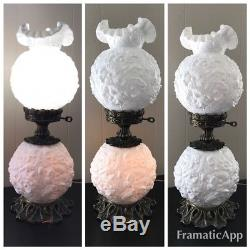 Vintage Fenton Gone With The Wind White Poppy Milk Glass Hurricane Parlor Lamp
