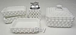 Vintage Fenton Hobnail Milk Glass Boxed Cigarette Smoking Set #3603MI 1962-1977