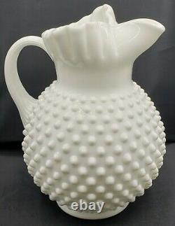 Vintage Fenton Hobnail White Milk Glass Pitcher & Bowl Set Signed