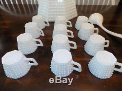 Vintage Fenton Hobnail White Milk Glass Punch Bowl Set with 12 Cups and Ladle