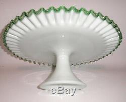 Vintage Fenton Milk Glass EMERALD CREST Ruffled Edge Pedestal Cake Stand