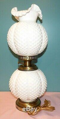 Vintage Fenton Milk Glass Hobnail Gone With The Wind Double Ball Lamp GWTW