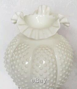 Vintage Fenton Milk Glass Hobnail Gone With The Wind Double Ball Lamp GWTW 3 WAY