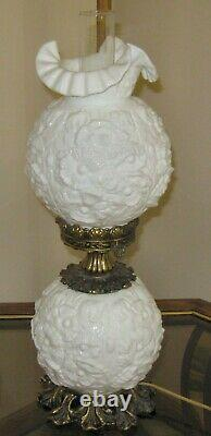 Vintage Fenton Milk Glass POPPY Gone With The Wind Electric 3 Way Lamp