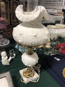 Vintage Fenton Milk Glass Rose Table Lamp Ruffled Crimped Flowers Roses
