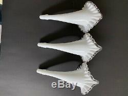Vintage Fenton Milk Glass Silver Crest 4 Horn Epergne Bowl Vase Centerpiece