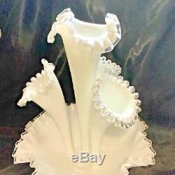 Vintage Fenton Milk Glass Silver Crest Large 4 Horn Epergne