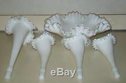 Vintage Fenton Milk Glass Silver Crest Large 4 Horn Epergne Centerpiece NICE