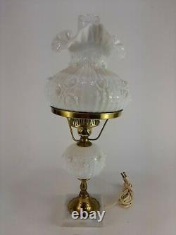 Vintage Fenton Milkglass Cabbage Rose Student Desk Lamp with Marble Base