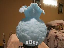 Vintage Fenton Poppy Blue Satin Milk Glass Table Lamp