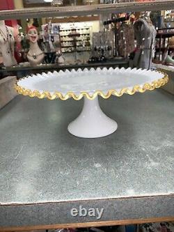 Vintage Fenton Ruffled Gold Crest White Milk Glass Pedestal Cake Stand