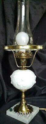 Vintage Fenton Sculptured Cabbage Roses Student Lamp Milk Glass Beauty