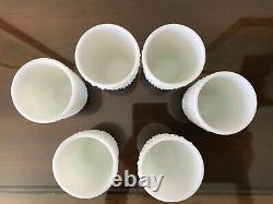 Vintage Fenton White Milk Glass Hobnail Squat Jug & 6 Tumblers Juice Set