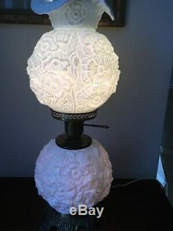 Vintage Fenton White Poppy Milk Glass Gone With The Wind Parlor Lamp Beautiful