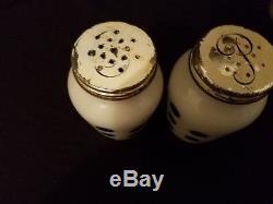 Vintage Fire King Anchor Hocking Black Polka Dot Milk Glass Salt & Pepper Shaker