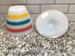 Vintage Fire King Colonial Pastel Bands Stripes Grease Jar With Lid Rare HTF