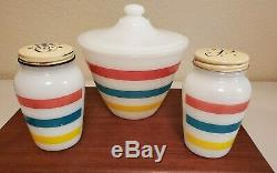 Vintage Fire King Colonial Stripe Grease Jar, Salt and Pepper Shakers. EUC