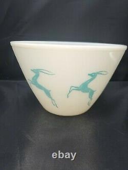 Vintage Fire King Gazelle 9 x 6 White Aqua Mixing Bowl #7