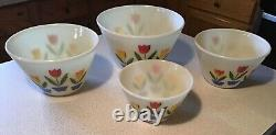 Vintage Fire King Oven Ware Nesting Tulip White Mixing Bowls Complete Set of 4