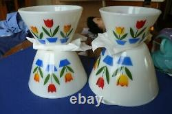 Vintage Fire King Oven Ware Nesting Tulip White Mixing Bowls Set of 4