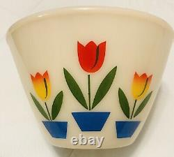 Vintage Fire King Oven Ware Tulip Nesting Mixing Bowl Set Of 4