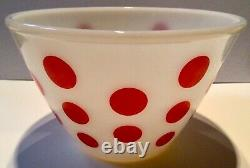 Vintage Fire King Red Polka Dot 7.75 Mixing Bowl Oven Ware USA Excellent Cond