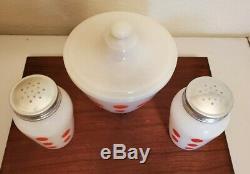 Vintage Fire King Red Polka Dot Range Set, Grease Jar, Salt & Pepper Shakers