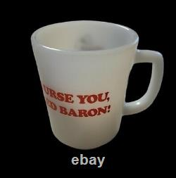 Vintage Fire King Snoopy Curse You Red Baron Coffee Mug White Milk Glass 1965