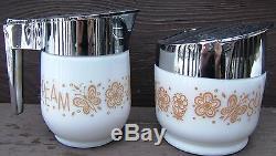 Vintage GEMCO MILK GLASS RETRO SUGAR BOWL CREAMER SET BUTTERFLIES FLOWERS USA