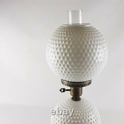 Vintage GWTW White Milk Glass Hobnail Double Globe Table Lamp 3 Way Light